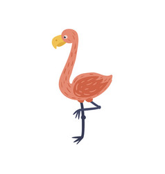 cartoon flamingo with pink feathers yellow beak vector image