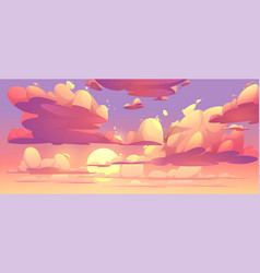 cartoon sunset sky with clouds vector image
