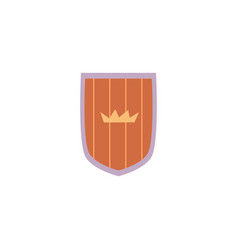 cartoon wooden shield with crown emblem isolated vector image