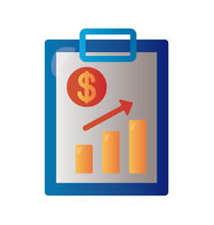 clipboard with price hike arrow up in bars vector image