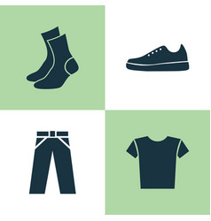 Clothes icons set collection of pants half-hose vector