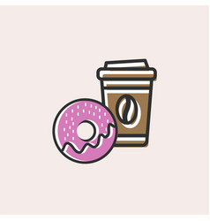 coffee and donut icon vector image