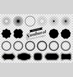 Collection hand drawn retro sunburst bursting vector