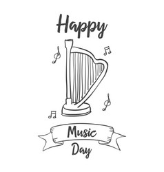 Collection music day style hand draw vector