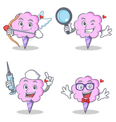 Cotton candy character set with cupid detective vector