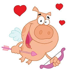 Cupid Pig Flying With Hearts vector