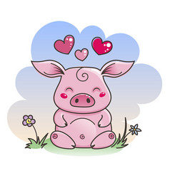 Cute cartoon pig in love symbol of new 2019 year vector