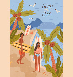 Cute happy young man and woman with surfboards on vector