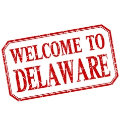 Delaware - welcome red vintage isolated label vector