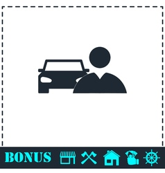Driver icon flat vector
