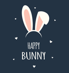 easter card with rabbit ears vector image
