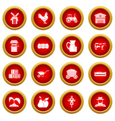 Farm icon red circle set vector
