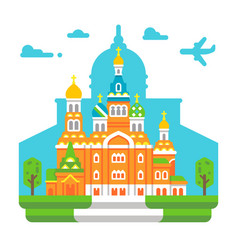 Flat design church of the savior on blood vector