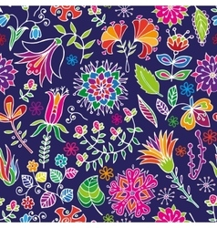 Floral cartoon seamless pattern vector image