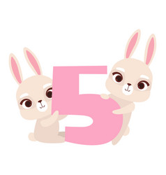 funny cute bunny animals and number five birthday vector image