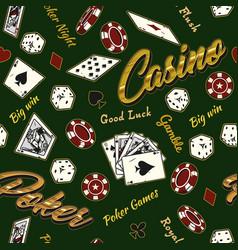 gambling vintage colorful seamless pattern vector image