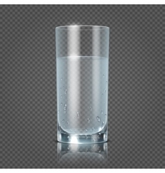 Glass of water isolated on transparent checkered vector