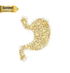 Gold glitter icon of stomach system vector