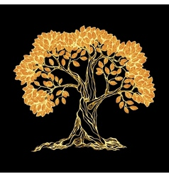 Golden tree on black vector