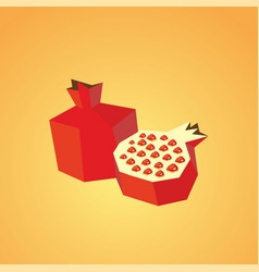 half of pomegranate icon isolated vector image