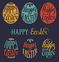 happy easter type cards in egg shape vector image