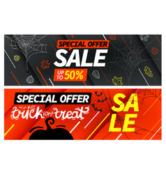 happy halloween sale special offer banners set vector image