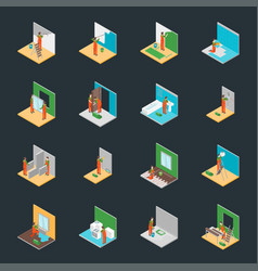 Home repair worker people 3d icons set isometric vector