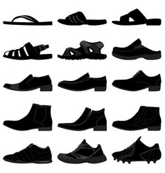 man male men shoes footwear a set of man shoes vector image
