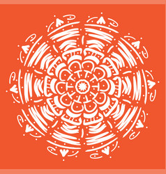 mandala round abstract floral oriental pattern vector image