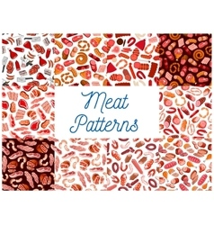 Meat and sausages seamless patterns vector