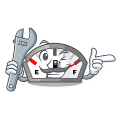 Mechanic gasoline indicator in the a mascot vector