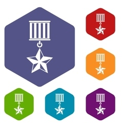 Medal star icons set vector