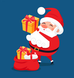 merry santa claus put presents into red bag vector image vector image