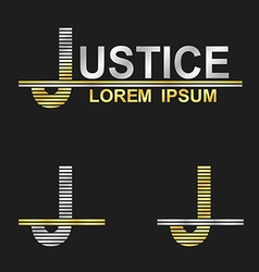 Metallic business font design - letter J vector