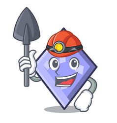 miner rhombus mascot cartoon style vector image