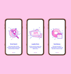 Mobile app intro screensonline shopping internet vector