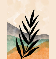 mountain and botanical wall art abstract leaves vector image