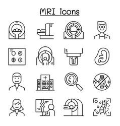 mri diagnostic icon set in thin line style vector image