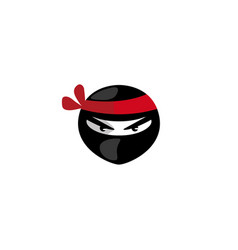 ninja head with angry face logo design icon vector image