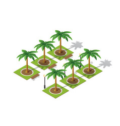 park nature with trees landscape vector image