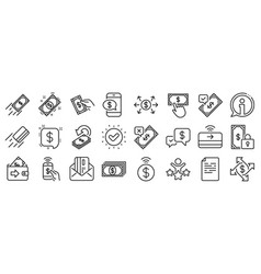 Payment line icons set accept transfer pay vector