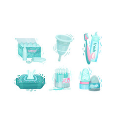 Personal hygiene items with cotton buds and wet vector