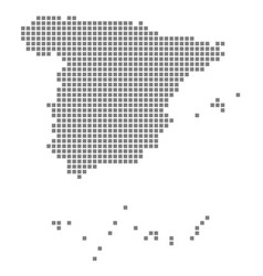 pixel map of spain dotted map of spain isolated vector image