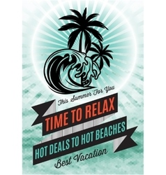 retro poster with palm tree and an inscription for vector image