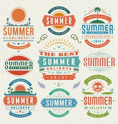 Retro summer design elements vector image