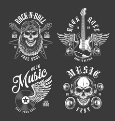 rock and roll emblems vector image