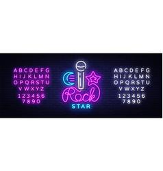 Rock star neon sign rock star logo vector