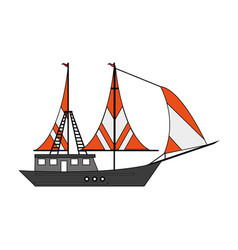 Sail fishing boat design vector