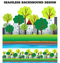 Seamless buildings and trees along the river vector image