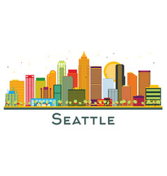 seattle washington city skyline with color vector image